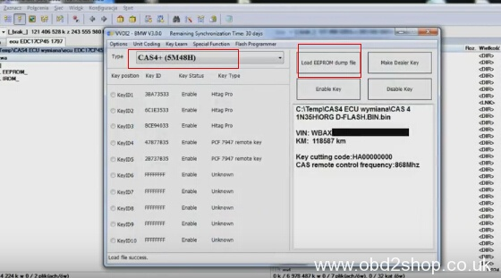 Use Xhorse VVDI2 calculate BMW CAS4+ Crypto ISN in EDC17CP45