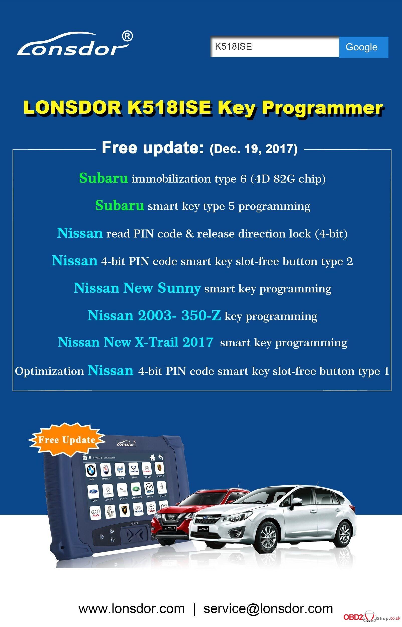 LONSDOR K518ISE Key Programmer Free update