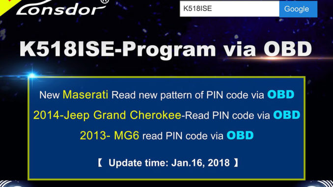 K518ISE Program via OBD-1