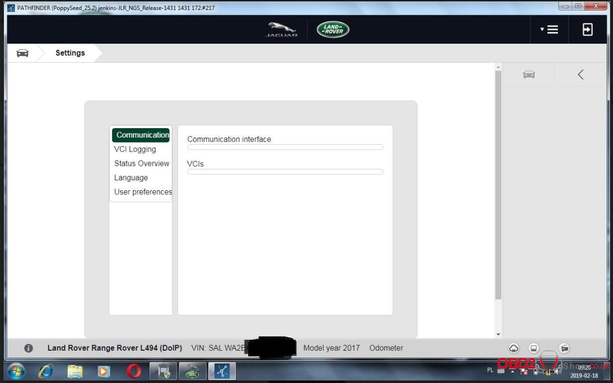 JLR Pathfinder VCI DoIP error pathfinder cannot recognize VCI