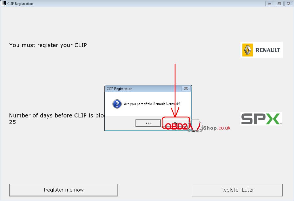 Renault CLiP Registration Step-2