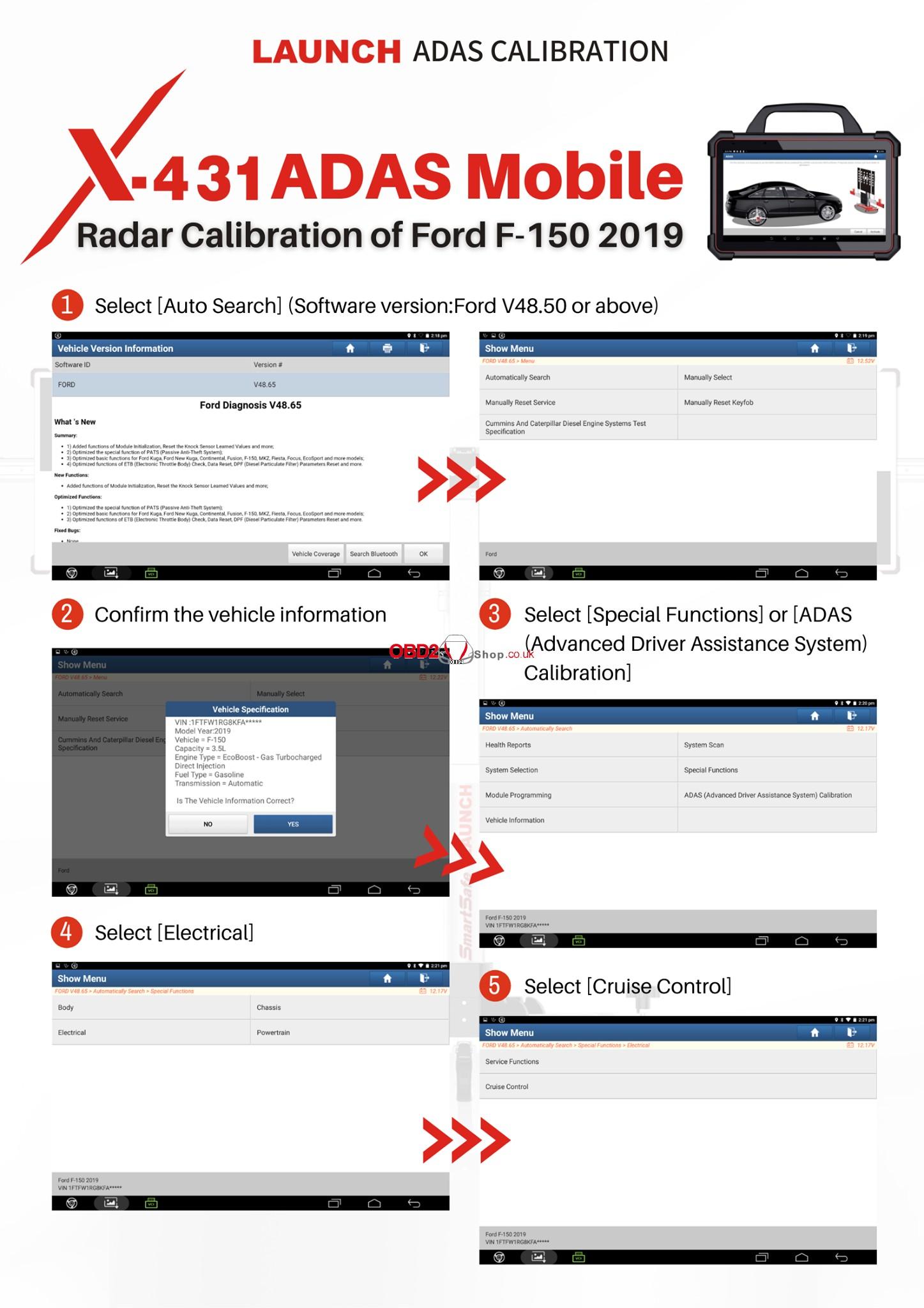 Ford F-150 2019 Radar Calibration via Launch X-431 PAD VII 01