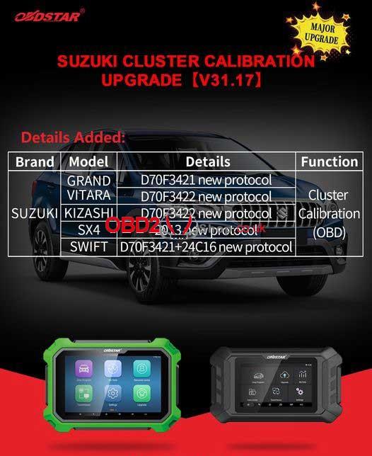 OBDSTAR  Suzuki Cluster Calibration Upgrade V31.17